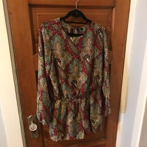 Long sleeve paisley romper - Urban Outfitters (L)